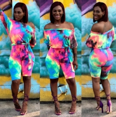 Charming Tie-dyed printed bandage jumpsuit