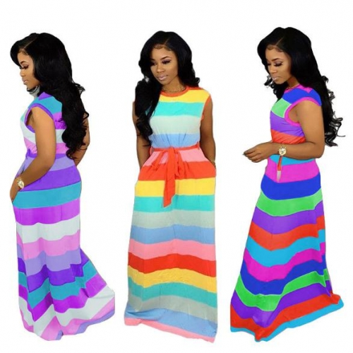 Charming Loose casual rainbow striped dress