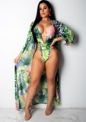 Charming Printed blouse + deep V one-piece swimsuit two-piece suit
