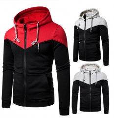 Charming Stitching zipper sports hooded sweater