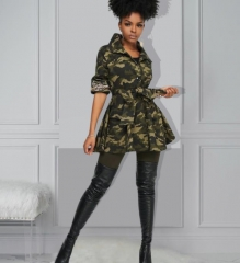 Charming Camouflage denim sequin stitching jacket