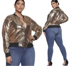 Charming plus size Stand collar sequin jacket