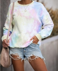 Charming Round neck long sleeve tie dyed sweater