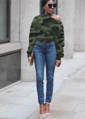 Charming Camouflage printed sloping shoulder sweatshirt
