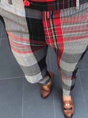 Charming High waist plaid casual pants