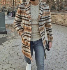 Charming Long sleeve plaid long coat