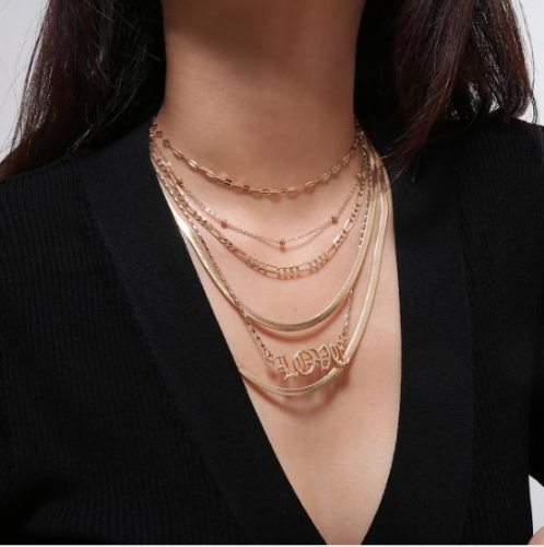 Charming love snake bone chain multilayer mashup necklace