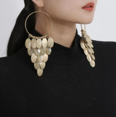 Charming Metal Disc Tassel Long Stud Earrings