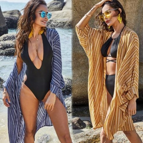 Charming Striped loose casual Cover-Ups