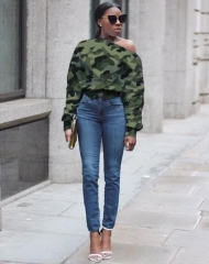 Charming Camouflage off-shoulder button-down sweatshirt