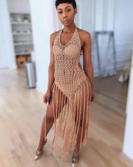 Charming Woven fringed beach dress
