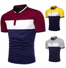 Charming Tri-color stitching short-sleeved T-shirt