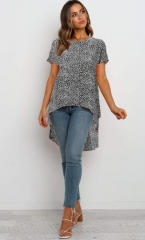 Charming Ruffled printed irregular chiffon shirt