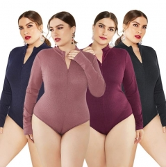 Charming Plus size Stand-up collar zipper base bodysuit