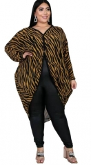 Charming Plus Size Bat sleeve zebra print blouse