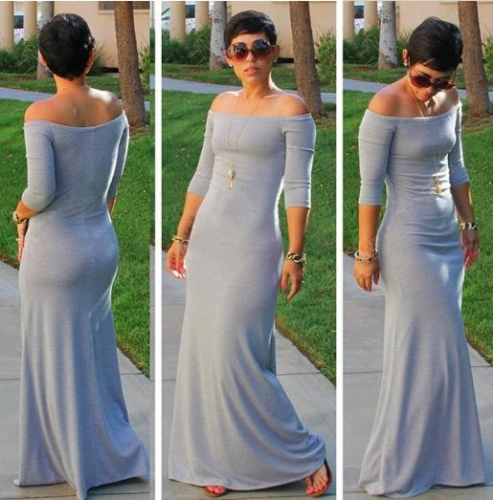 Charming High waist off-the-shoulder long dress