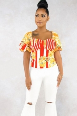 Charming Printed striped puff sleeve top