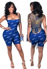 Charming Tight letter strapless backless romper