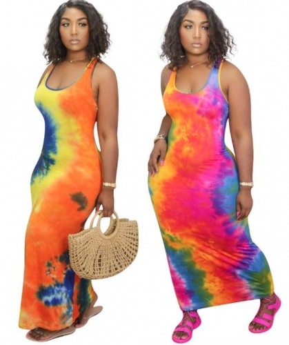 Charming Tie-dye plus size long dress