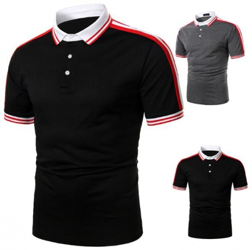 Charming Ribbon stitching casual men's POLO shirt