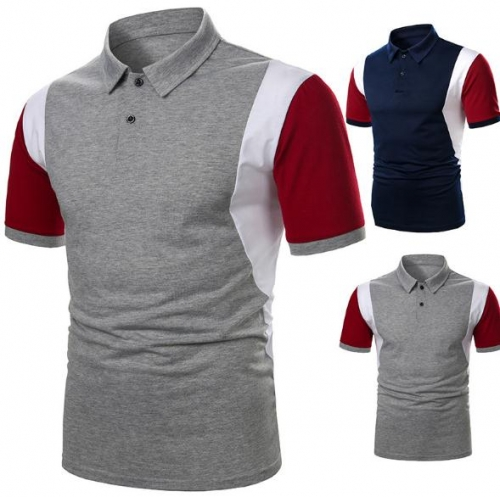 Charming Tricolor stitching casual men's POLO shirt