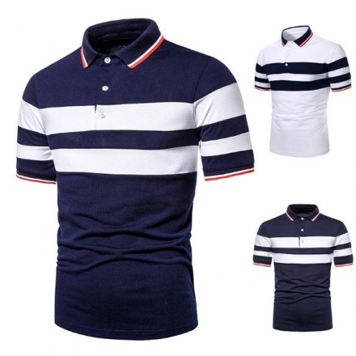 Charming Two-color stitching casual men's POLO shirt