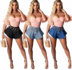 Charming Hot sale fan-shaped denim shorts