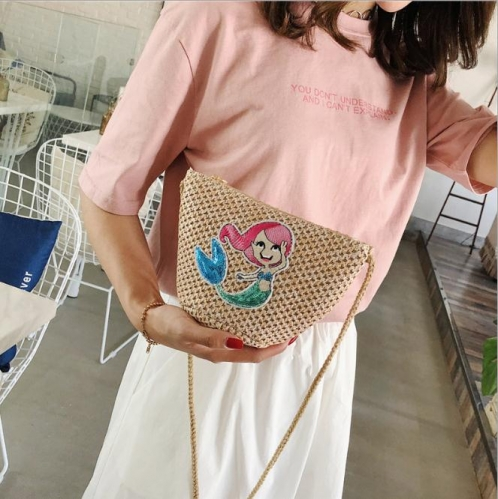 Charming All-match literary small fresh sequin crossbody bag