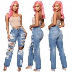 Charming Shredded stretch-free straight jeans