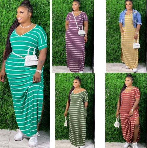 Charming Plus size striped long dress