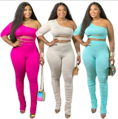 Charming Plus size Pleated flared  pants set