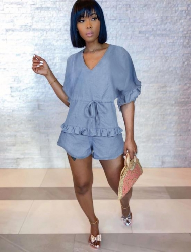 Charming Denim ruffled pleated romper