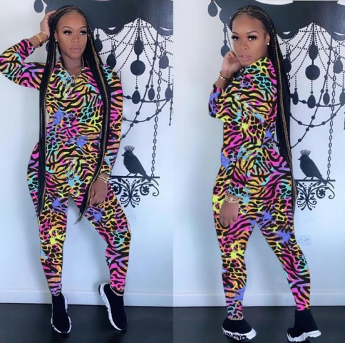 Charming Long sleeve color print sports suit
