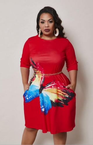 Charming Butterfly print plus size pocket dress