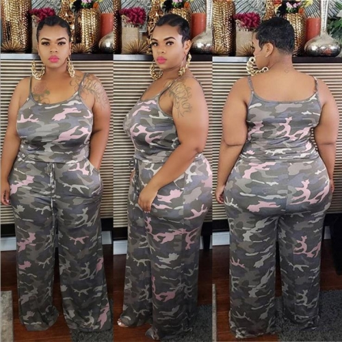 Charming Camouflage print plus size two-piece suit