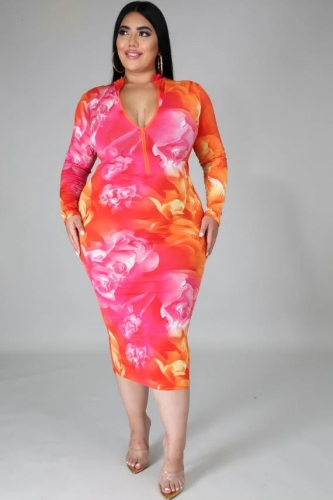 Charming Plus Size Slim printed zipper dress