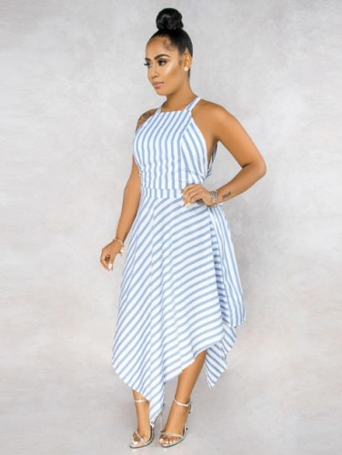 Charming Striped suspender halter dress