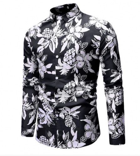 Charming Printed casual plus size men's shirt