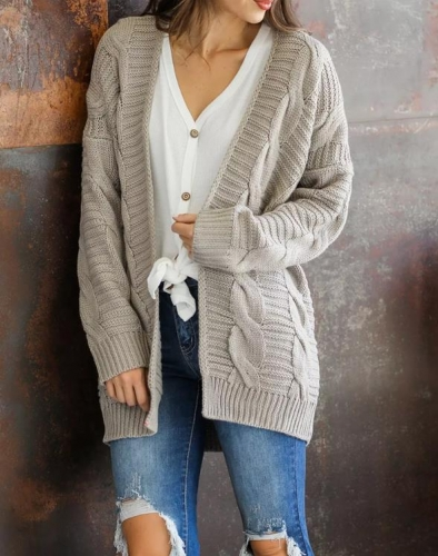 Charming Solid color mid-length thick-knit sweater