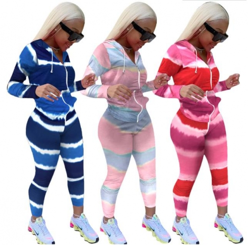 Charming Gradient striped long sleeve sports suit