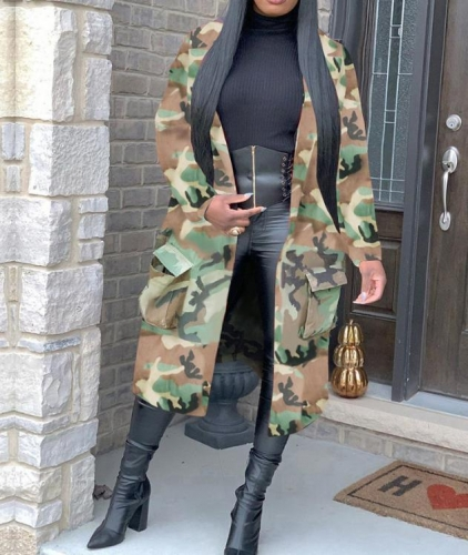 Charming Camouflage print mid-length trench coat
