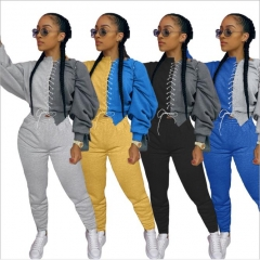 Charming Sportswear Bandage Design Patchwork Grey Two Piece Pants Set