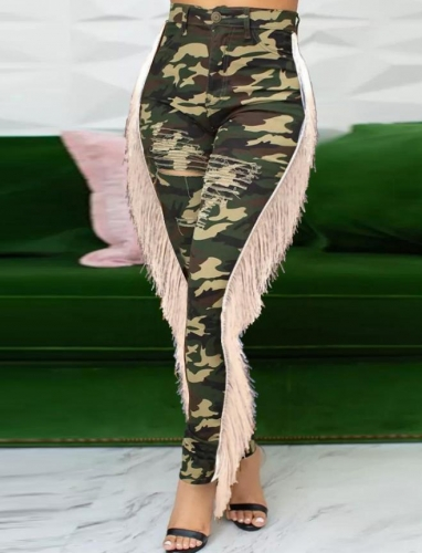 Charming Camouflage ripped fringed jeans