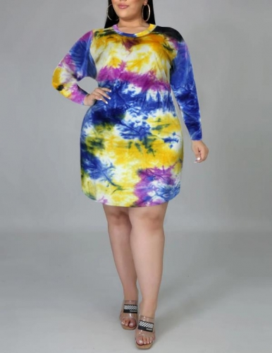 Charming Oversized tie-dye printed dress