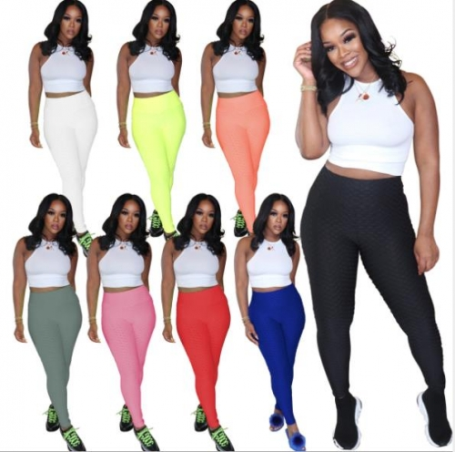 Charming High waist solid color sports trousers