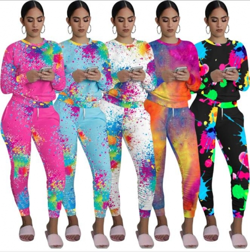 Charming Casual pad dyeing splash ink printing pants set