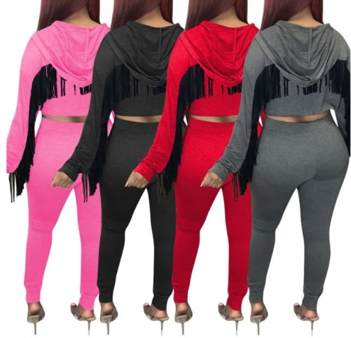 Charming Solid color tassel wings hooded sweatpants suit