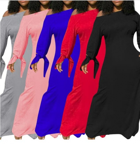 Charming Solid color knotted long sleeve pocket dress