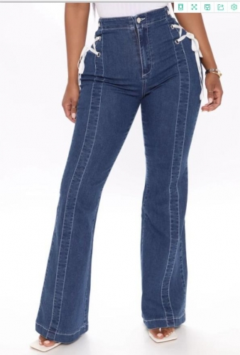 Charming Plus size Side straps flared jeans