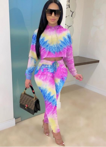 Charming Casual tie-dye drop shoulder hooded two-piece pants suit